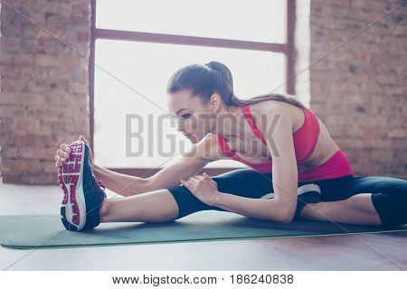 Focused Young Lady Is Doing Her Stretching To Be Bendy And Flexible. She Is Wearing Pink Sportswear