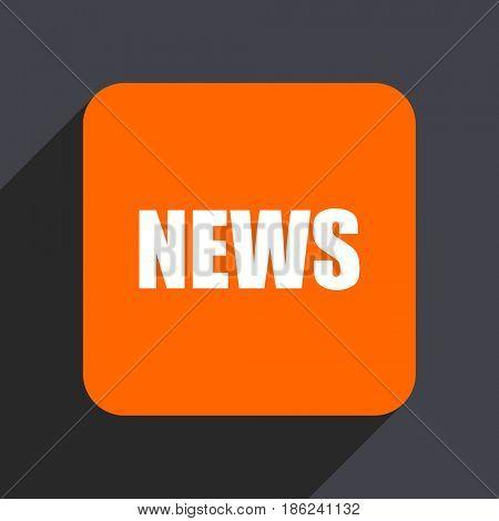 News orange flat design web icon isolated on gray background