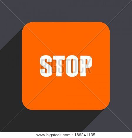 Stop orange flat design web icon isolated on gray background