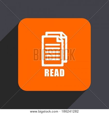 Read orange flat design web icon isolated on gray background