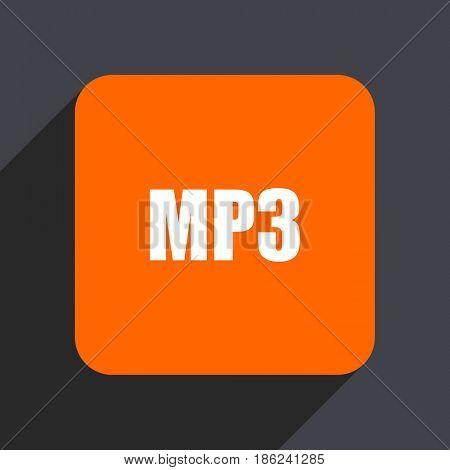 Mp3 orange flat design web icon isolated on gray background