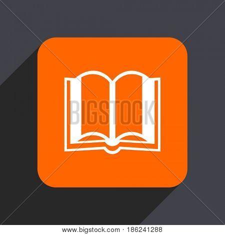 Book orange flat design web icon isolated on gray background