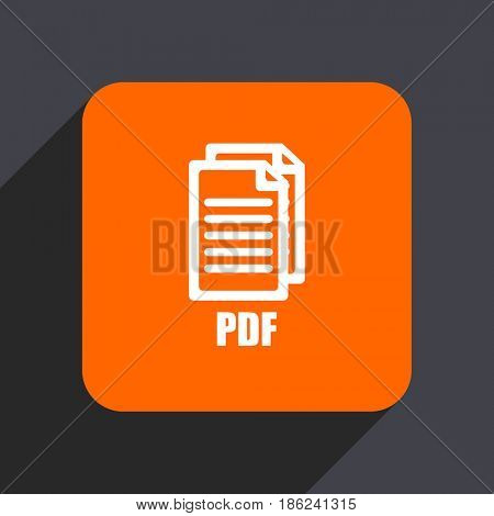Pdf orange flat design web icon isolated on gray background,