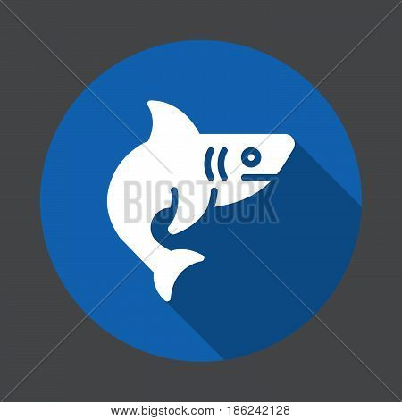 Shark fish flat icon. Round colorful button circular vector sign with long shadow effect. Flat style design