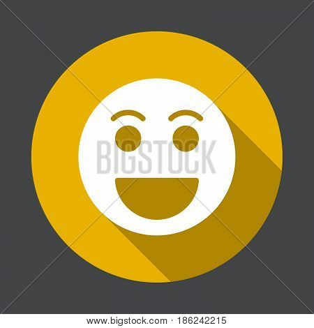 Grinning face Happy smile emoji flat icon. Round colorful button circular vector sign with long shadow effect. Flat style design