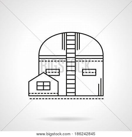 Symbol of warehouse or storehouse for freights and goods storage. Industrial architecture. Flat black line vector icon.