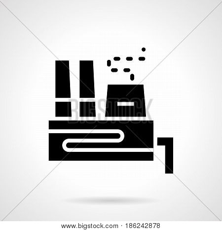 Abstract monochrome symbol of power plant building. Industrial architecture and ecology concept. Symbolic black glyph style vector icon.