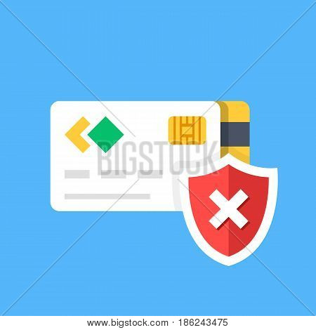 Credit card and shield with x mark, shield with cross. Insecure payment, unprotected transaction, access denied, declined transaction, wrong pin code, fraud concepts. Flat design vector illustration