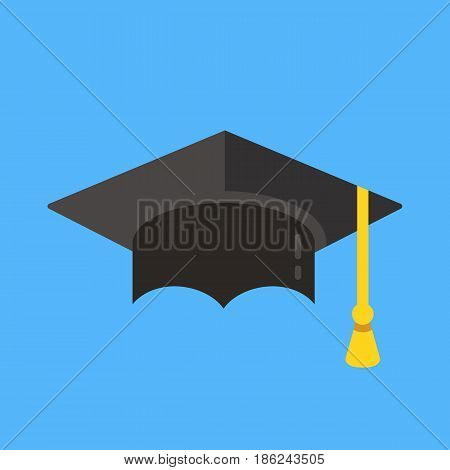 Graduation hat icon. Mortarboard, graduation cap icon. Flat design vector illustration