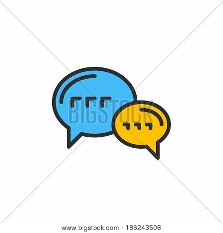 Speech balloons chat filled outline icon line vector sign linear colorful pictogram. Forum symbol logo illustration. Pixel perfect