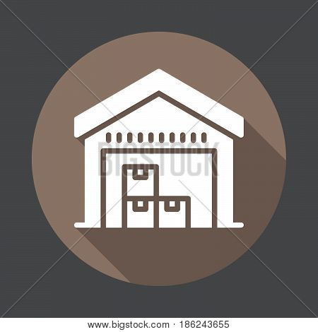 Warehouse flat icon. Round colorful button circular vector sign with long shadow effect. Flat style design