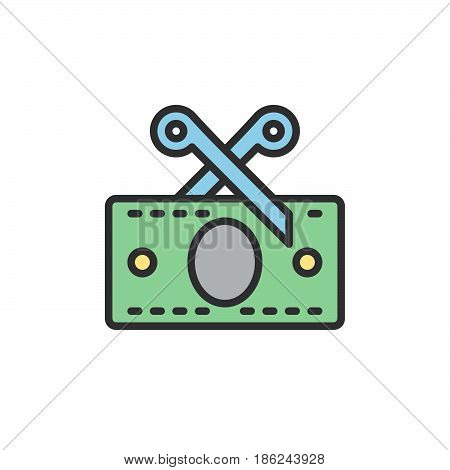 Tax Scissors and money banknote filled outline icon line vector sign linear colorful pictogram. Symbol logo illustration. Pixel perfect