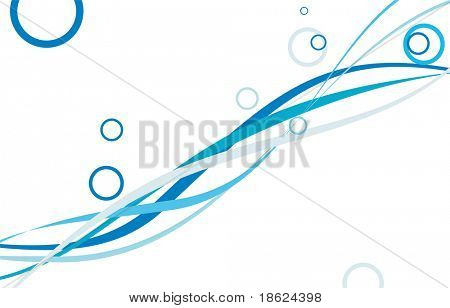 Abstract waves and circles on white background