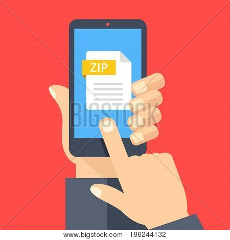 Zip file on smartphone screen. Hand holds smartphone, finger touches screen. Download, open zip archive on phone, mobile device. Modern graphic for web banner, website. Flat design vector illustration