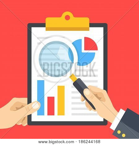 Audit, financial statement review. Hand holding clipboard with financial report and hand holding magnifying glass, loupe. Business research, business analysis concepts. Flat design vector illustration