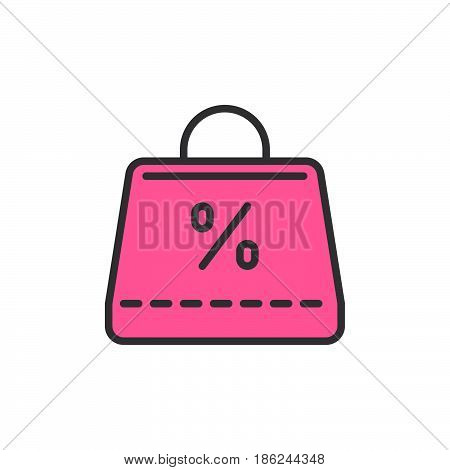 Shopping bag with percent sign filled outline icon line vector sign linear colorful pictogram. Symbol logo illustration. Pixel perfect