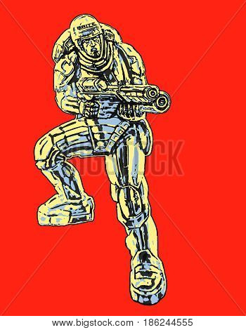 Commando in armor suit with large rifle. Special forces. Original character the soldier of the future. Freehand digital drawing. Vector illustration.