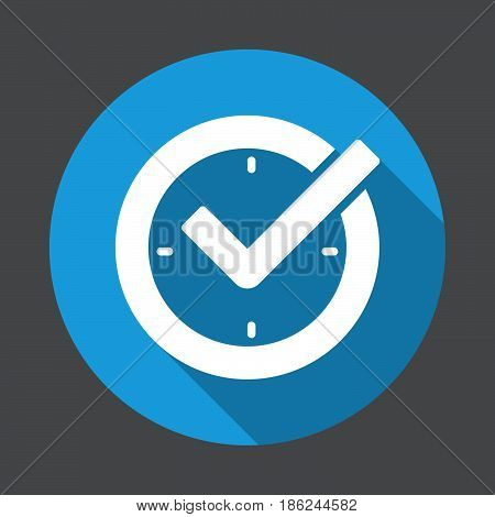 Check mark on clock real time protection flat icon. Round colorful button circular vector sign with long shadow effect. Flat style design