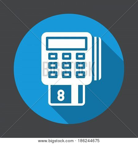 Pos terminal flat icon. Round colorful button circular vector sign with long shadow effect. Flat style design