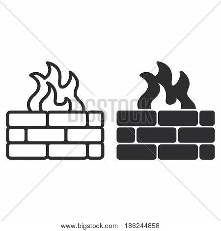 Brick wall and fire line and solid icon outline and filled vector sign linear and full pictogram isolated on white. Firewall symbol logo illustration