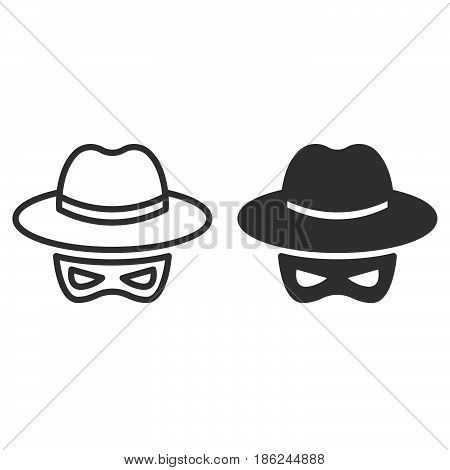 Spy line and solid icon outline and filled vector sign linear and full pictogram isolated on white. Spyware symbol logo illustration