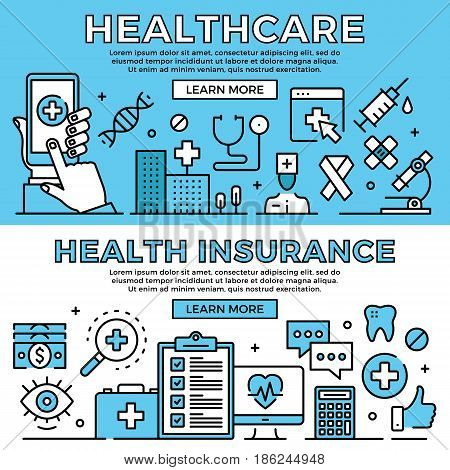 Healthcare, health insurance concepts. Flat design line banners set. Modern graphic elements, thin line icons for web banners, web sites, infographics. Premium quality. Vector illustration