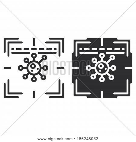 Antivirus scanner line and solid icon outline and filled vector sign linear and full pictogram isolated on white. Symbol logo illustration