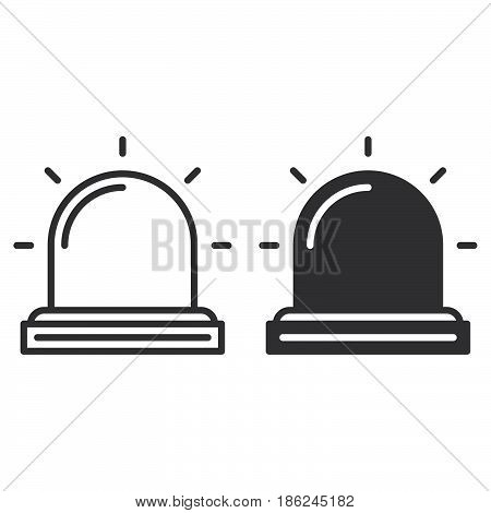 Flasher Alarm lamp line and solid icon outline and filled vector sign linear and full pictogram isolated on white. Symbol logo illustration