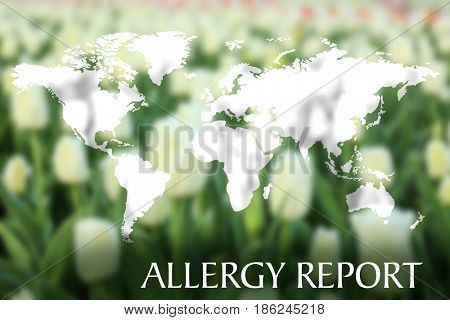 Text ALLERGY REPORT and world map on flower background