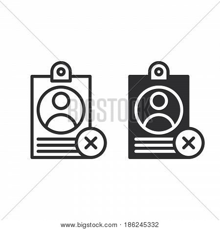Personal badge with X mark line and solid icon outline and filled vector sign linear and full pictogram isolated on white. User id not verified symbol logo illustration