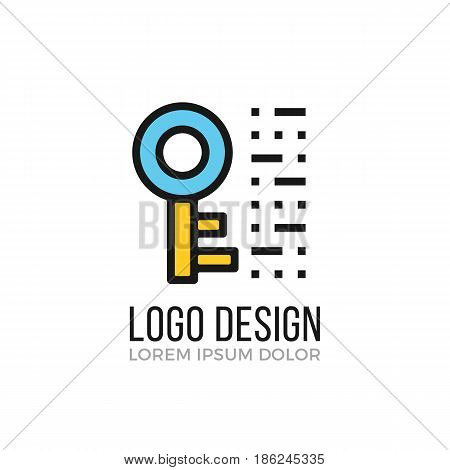 Encryption, cryptography logo design concept. Key icon. Modern vector logo isolated on white background