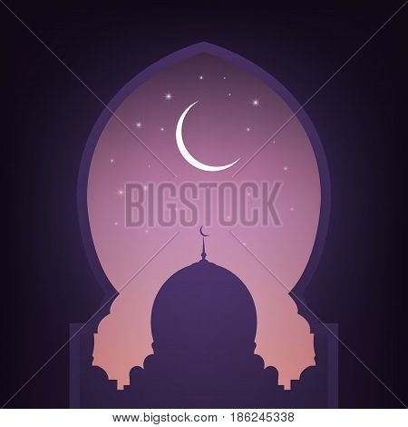 Mosque door with view on the mosque, night sky, shiny moon and stars. Arabic illustration for muslim holidays.