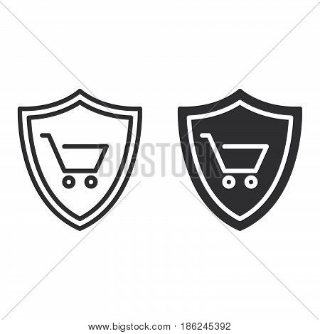 Shield with shopping cart line and solid icon outline and filled vector sign linear and full pictogram isolated on white. Buyer Protection symbol logo illustration