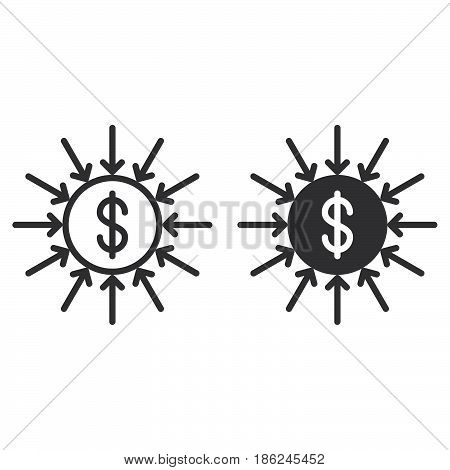 Capital inflow line and solid icon outline and filled vector sign linear and full pictogram isolated on white. Symbol logo illustration
