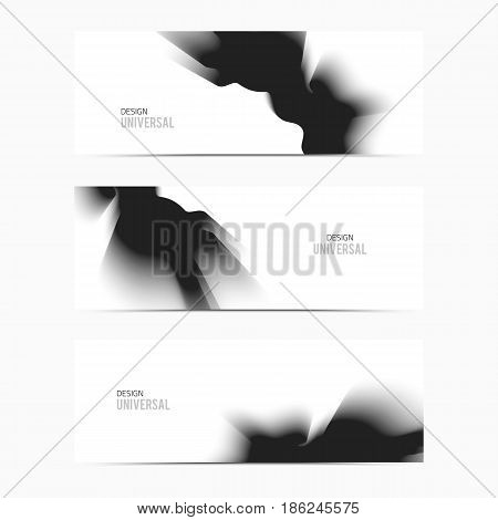 Vector banner black smooth blurry texture background. Abstract nebulous  element.