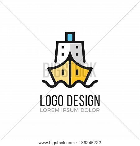 Ship logo design concept. Ship icon. Vector logo isolated on white background