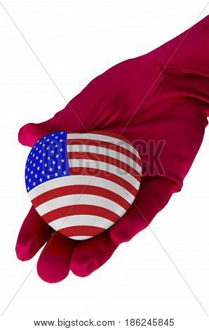 Close up of woman hand holding american flag heart shape isolated on white background.