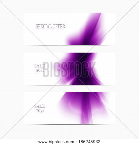 Vector banner pink smooth blurry background. Abstract futuristic colorful texture.