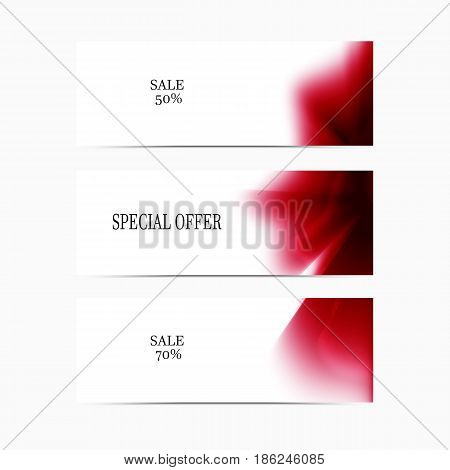 Vector banner red smooth blurry background. Abstract futuristic colorful texture.