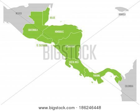 Map of Central America region with green highlighted central american states. Country name labels. Simple flat vector illustration.