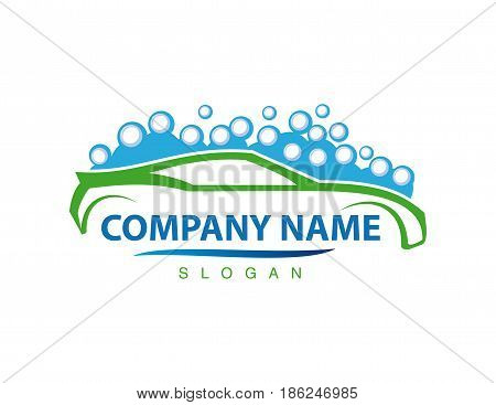 blue and green car wash logo on white background