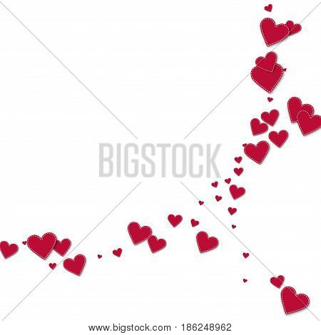 Red Stitched Paper Hearts. Abstract Crescents On White Background. Vector Illustration.