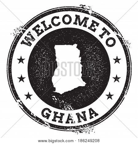 Vintage Passport Welcome Stamp With Ghana Map. Grunge Rubber Stamp With Welcome To Ghana Text, Vecto