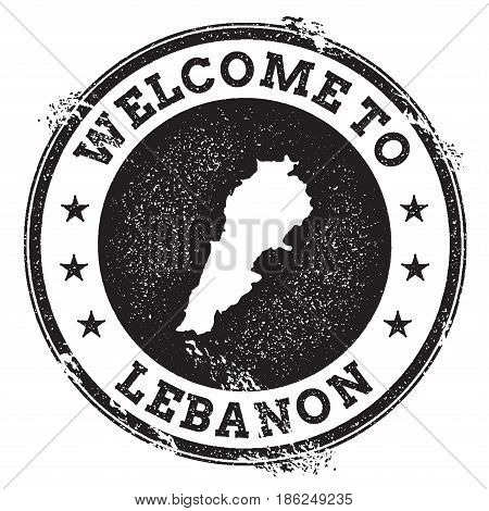 Vintage Passport Welcome Stamp With Lebanon Map. Grunge Rubber Stamp With Welcome To Lebanon Text, V