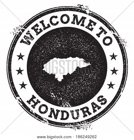 Vintage Passport Welcome Stamp With Honduras Map. Grunge Rubber Stamp With Welcome To Honduras Text,