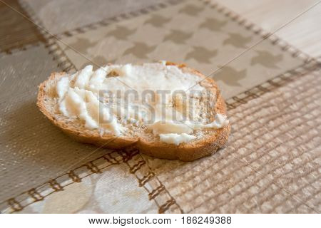 Appetizer made from horseradish, sour cream and mayonnaise on a slice of bread