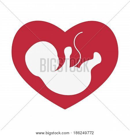 Ultrasonography baby icon on the heart background. Vector illustration.