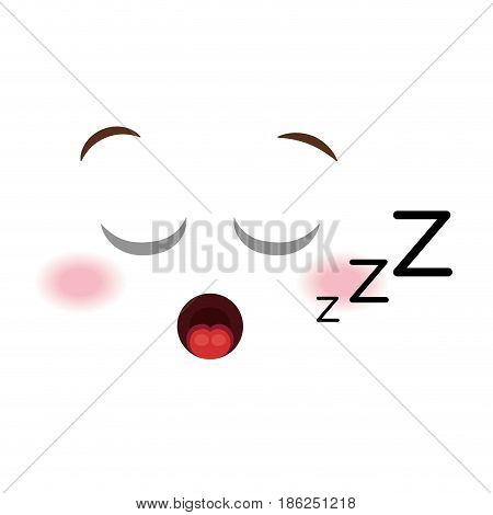asleep face emoticon kawaii style vector illustration design
