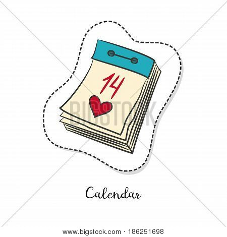 Cartoon sticker with Tear-off calendar on white background. Vector illustration.