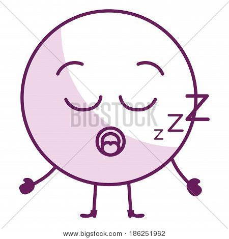 asleep face emoticon kawaii character vector illustration design